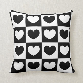 White and Black Hearts Throw Pillow
