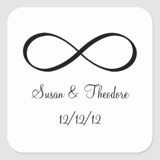 White and Black Infinity Symbol Save the Date Square Sticker