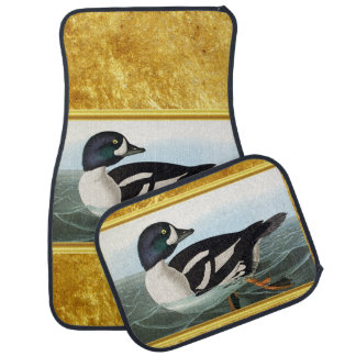 White and Black mallard ducks swimming in water Car Mat