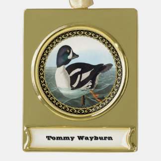 White and Black mallard ducks swimming in water Gold Plated Banner Ornament