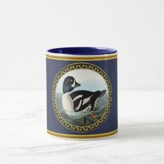 White and Black mallard ducks swimming in water Mug