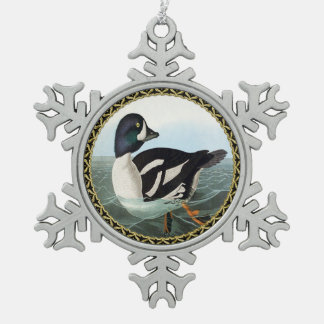 White and Black mallard ducks swimming in water Snowflake Pewter Christmas Ornament
