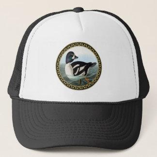 White and Black mallard ducks swimming in water Trucker Hat
