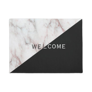 White And Black Marble Design Doormat