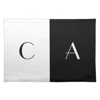 White and Black Monogrammed Placemat