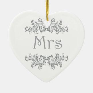 White and Black Mr & Mrs Wedding Favor Ornament. Ceramic Heart Decoration