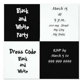 White and Black Party Card