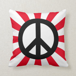 White and Black Peace Symbol with Starburst Cushion