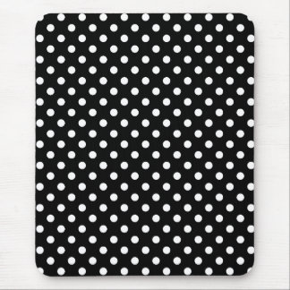White and Black Polka Dot Mouse Pad