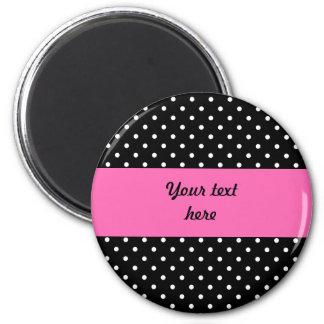 White and Black Polka Dot Pattern 6 Cm Round Magnet