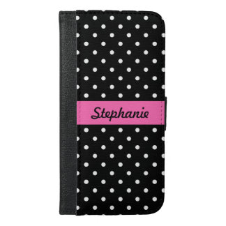 White and Black Polka Dot Pattern iPhone 6/6s Plus Wallet Case