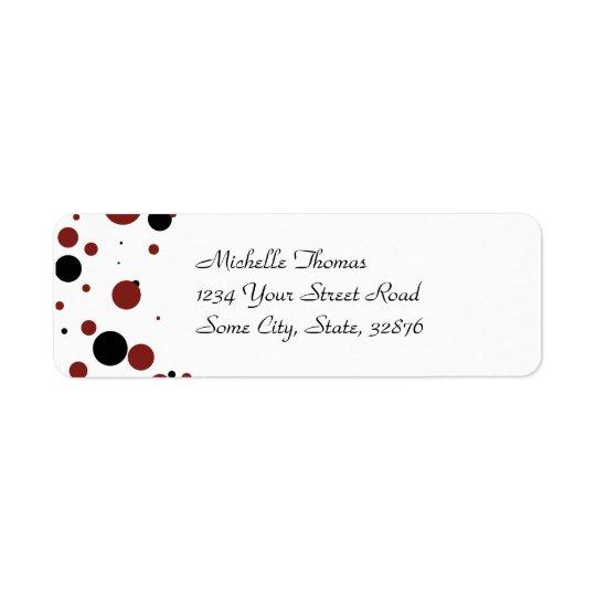 White and Black Polka Dot Wedding Return Address Label