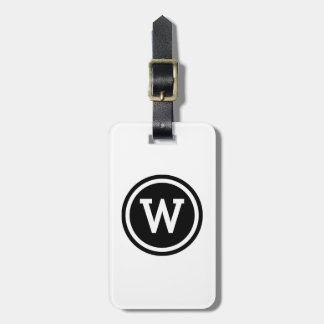 White and Black Ringed Circle Monogram Luggage Tag