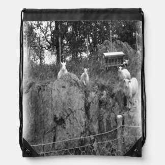 White and black sheep drawing drawstring bag