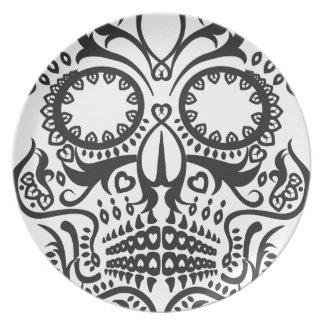 White and Black Skull / Day of the Dead Party Plates