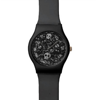 white and black skull heads watches