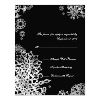 White and Black Snowflakes Wedding RSVP 3 Personalized Invitation