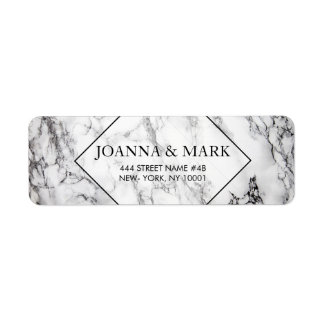 White And Black Spotted Marble Stone Return Address Label