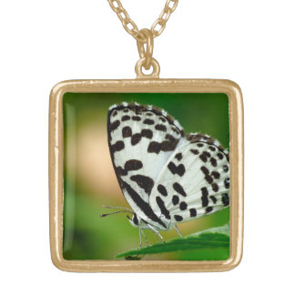 White and Black Spotted Pierrot Butterfly Necklaces