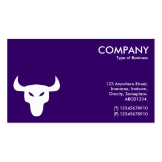 White and Black Steer Symbol - Alternating Sides Business Card Template
