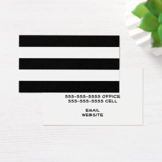 White and Black Stripe Business Card