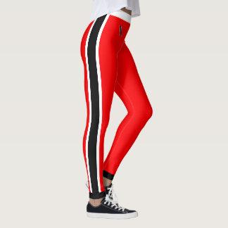 White and Black Stripes on Red Leggings