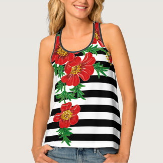 White and Black Stripes with Red Poppies Tank Top