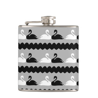 White and Black Swans with Hearts Hip Flask