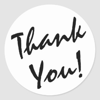 White and Black Thank You Classic Round Sticker