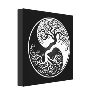 White and Black Tree of Life Yin Yang Canvas Prints
