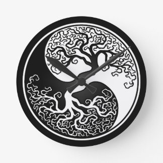 White and Black Tree of Life Yin Yang Wallclocks