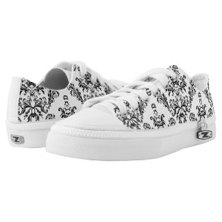 White and Black vintage damask pattern Low Tops