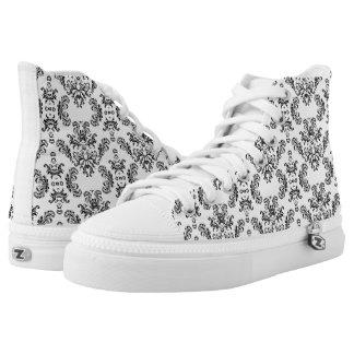 White and Black vintage damask pattern Printed Shoes