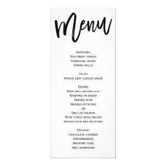 White And Black Wedding Menu Personalized Card