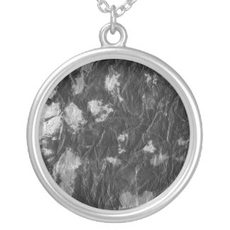 white and black wrinkled paper towel image round pendant necklace