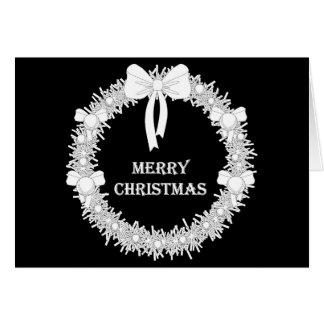 White and Black Xmas Wreath Card