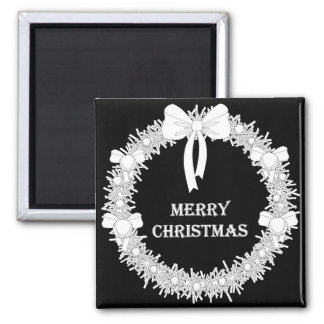 White and Black Xmas Wreath Refrigerator Magnet
