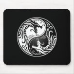 White and Black Yin Yang Dragons