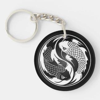 White and Black Yin Yang Koi Fish Key Ring