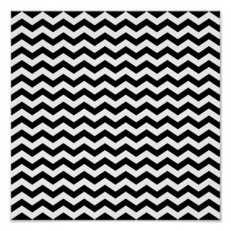 White and Black Zig Zag Poster
