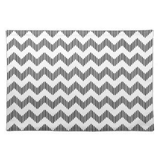 White And Black Zigzag Chevron Pattern Place Mats