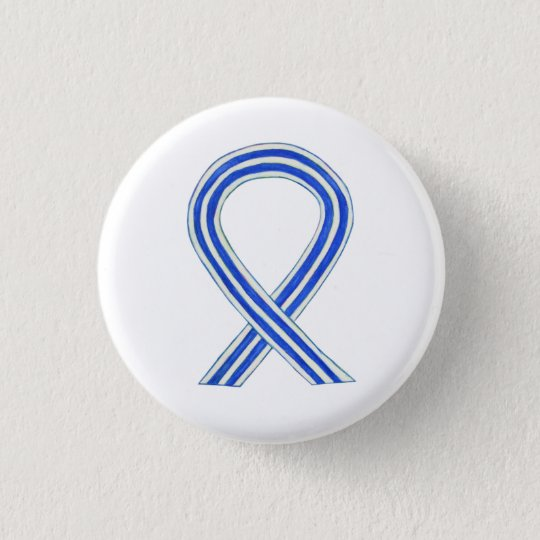 White and Blue Awareness Ribbon Custom ALS Buttons