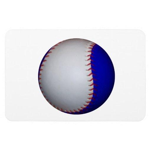 White and Blue Baseball Softball Rectangle Magnets