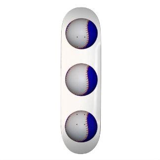 White and Blue Baseball Softball Skate Deck