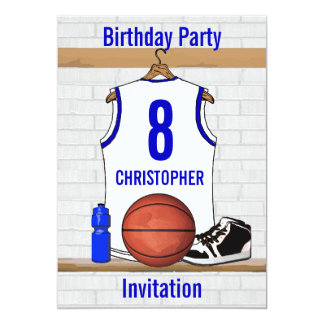 White and Blue Basketball Jersey Birthday Party 13 Cm X 18 Cm Invitation Card
