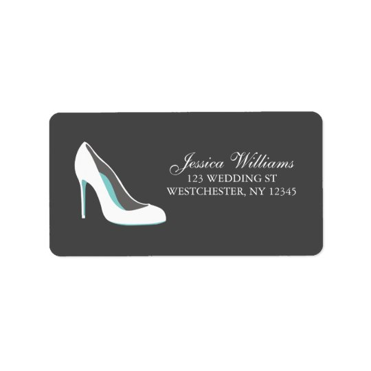 White and Blue Bride Shoes Label