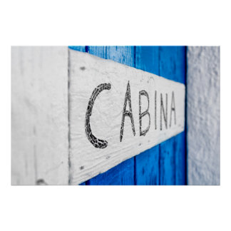 White and blue door poster