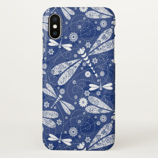 White And Blue DragonFly Pattern iPhone X Case