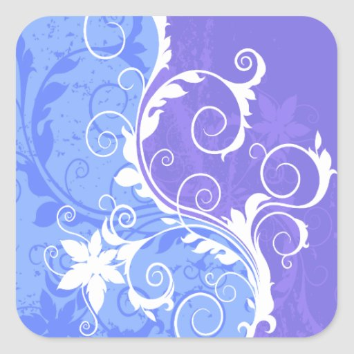 White and Blue Floral Grunge Sticker