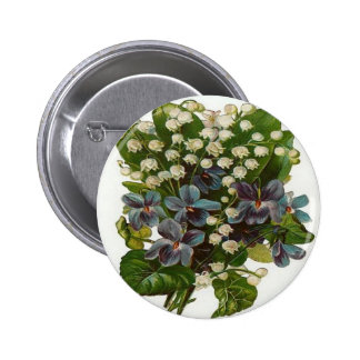 White and Blue Flowers Button